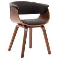 vidaXL Трапезен стол, сив, извито дърво и текстил