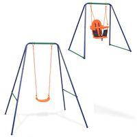 vidaXL 2-в-1 Единична люлка и бебешка люлка, оранжева седалка