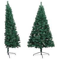 vidaXL Изкуствена половин коледна елха със стойка, зелена, 210 см, PVC