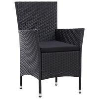 vidaXL Градински столове, 2 бр, черни, полиратан