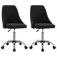 vidaXL Офис столове на колелца, 2 бр, черни, текстил