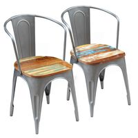 vidaXL Трапезни столове, 2 бр, регенерирано дърво масив