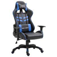 vidaXL Геймърски стол, синьо, изкуствена кожа