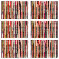 vidaXL Подложки за хранене, 6 бр, Chindi, многоцветни, 30x45 см, памук