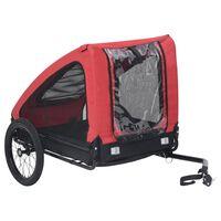 vidaXL Ремарке за домашен любимец за велосипед, червено и черно