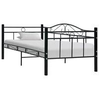 vidaXL Рамка за дневно легло, черна, метал, 90x200 см