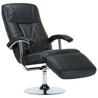 vidaXL ТВ фотьойл, черен, изкуствена кожа