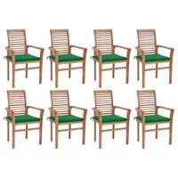 vidaXL Трапезни столове, 8 бр, със зелени възглавници, тик масив