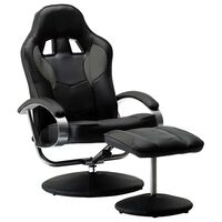 vidaXL Реклайнер рейсинг стол с табуретка, сив, изкуствена кожа