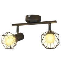 Черна лампа с 2 LED крушки с нажежаема жичка и геометрична рамка