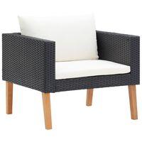 vidaXL Едноместен градински диван с възглавници, полиратан, черен