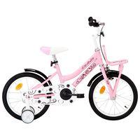 vidaXL Детски велосипед с преден багажник, 16 цола, бяло и розово