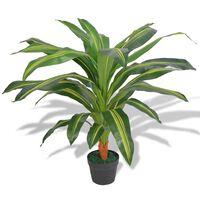 vidaXL Изкуствено растение драцена със саксия, 90 см, зелено