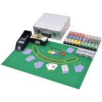 vidaXL Комбиниран покер/блекджек комплект, 600 лазерни чипа, алуминий