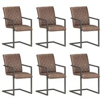 vidaXL Конзолни трапезни столове, 6 бр, кафяви, естествена кожа