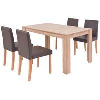 vidaXL Трапезна маса и столове, 5 части, изкуствена кожа, дъб, кафяво