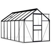 vidaXL Парник с алуминиева рамка, подсилена основа, антрацит, 7,03 м²