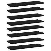 vidaXL Рафтове за етажерка, 8 бр, черни, 60x20x1,5 см, ПДЧ