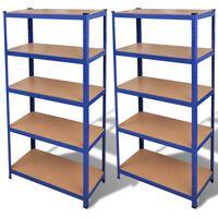 Стелажи за съхранение, 2 броя, до 875 кг на стелаж, цвят: син