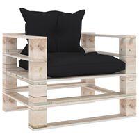 vidaXL Градински палетен диван с черни възглавници, борово дърво