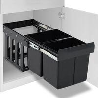 vidaXL Кош за вграждане за кухненски шкаф, плавно затваряне, 36 л