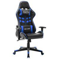 vidaXL Геймърски стол, черно и синьо, изкуствена кожа