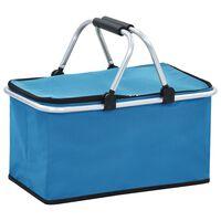 vidaXL Сгъваема хладилна чанта, синя, 46x27x23 см, алуминий