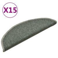 vidaXL Постелки за стъпала, 15 бр, тъмнозелени, 56x17x3 см