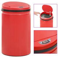 vidaXL Кош за смет с автоматичен сензор 40 л въглеродна стомана червен