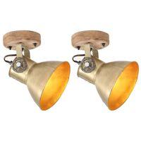 vidaXL Индустриални стенни/таванни лампи 2 бр месинг 20x25 см E27