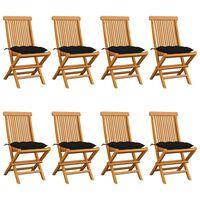vidaXL Градински столове с черни възглавници 8 бр тик масив