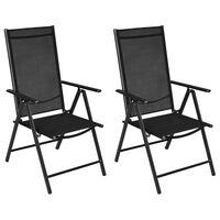 vidaXL Сгъваеми градински столове, 2 бр, алуминий и Textilene, черни