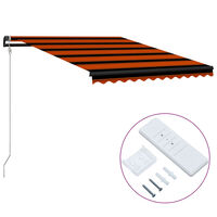 vidaXL Автоматично прибиращ се сенник, 350x250 см, оранжево и кафяво