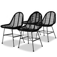 vidaXL Трапезни столове, 4 бр, черни, естествен ратан