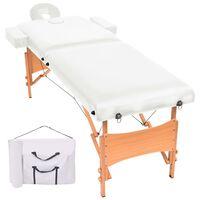 vidaXL Сгъваема масажна кушетка с 2 зони, 10 см плътен пълнеж, бяла