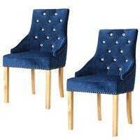 vidaXL Трапезни столове, 2 бр, сини, дъб масив и кадифе