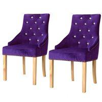 vidaXL Трапезни столове, 2 бр, лилави, дъб масив и кадифе