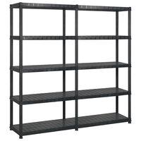 vidaXL Стелаж за съхранение с 5 рафта, черен, 170x40x185 см, пластмаса