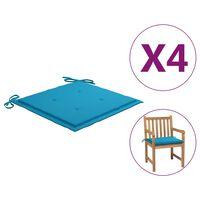 vidaXL Възглавници за градински столове 4 бр сини 50x50x4 см плат