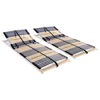 vidaXL Подматрачни рамки с 42 ламела, 2 бр, 7 зони, 80x200 см