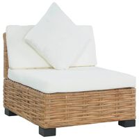 vidaXL Кресло без подлакътници, с възглавници, естествен ратан