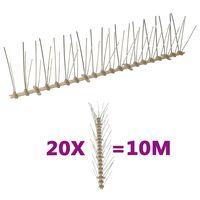 vidaXL 5-редови пластмасови шипове срещу птици и гълъби, 20 бр, 10 м