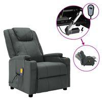 vidaXL Електрически масажен наклоняем стол, антрацит, изкуствена кожа