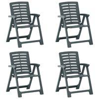 vidaXL Градински столове, 4 бр, пластмаса, зелени