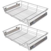 vidaXL Плъзгащи се телени кошници, 2 бр, сребристи, 800 мм
