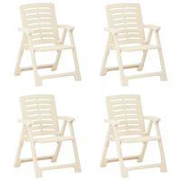 vidaXL Градински столове, 4 бр, пластмаса, бели