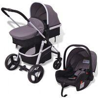 vidaXL Бебешка количка 3-в-1, алуминиева, сиво и черно