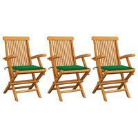 vidaXL Градински столове със зелени възглавници 3 бр тик масив