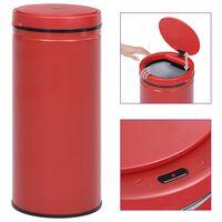 vidaXL Кош за смет с автоматичен сензор 80 л въглеродна стомана червен