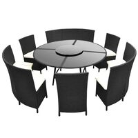 vidaXL Градински комплект с възглавници, 7 части, черен полиратан